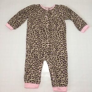 Carter's Leopard Printed Fleece Pajama Sleeper 24M